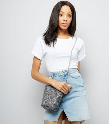 Silver Glitter Mini Bucket Bag New Look