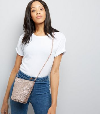 Rose Gold Glitter Mini Bucket Bag New Look