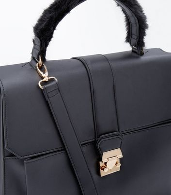 Black Fur Strap Handle Bag New Look