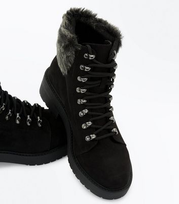 Teens Black Suedette Faux Fur Trim Hiker Boots New Look