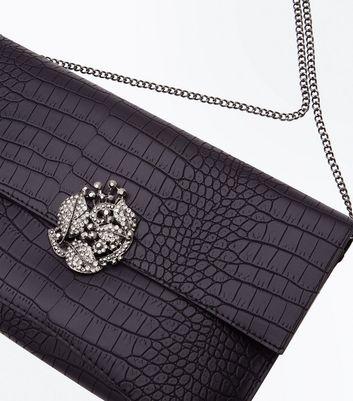 Black Croc Texture Brooch Front Clutch New Look