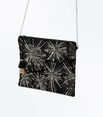 Black Embroidered Stud Structured Bag New Look