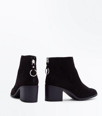 Teens Black Ring Trim Suedette Block Boots New Look