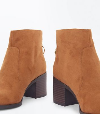 Teens Tan Suedette Ring Ankle Boots New Look