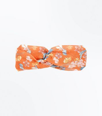 Orange Tropical Floral Print Hairband New Look