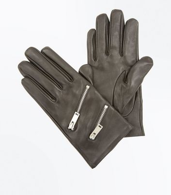 Black Zip Detail Gloves New Look