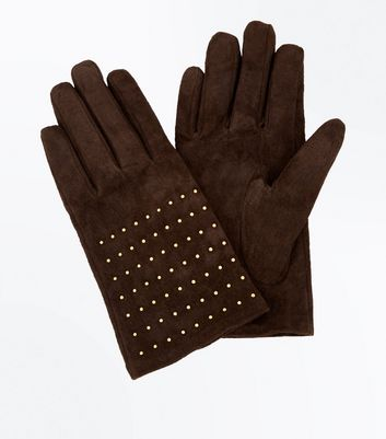 Tan Suede Studded Gloves New Look