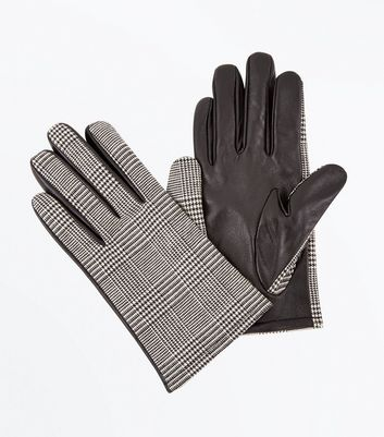 Black Leather Check Gloves New Look