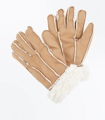 Stone Faux Shearling Gloves New Look