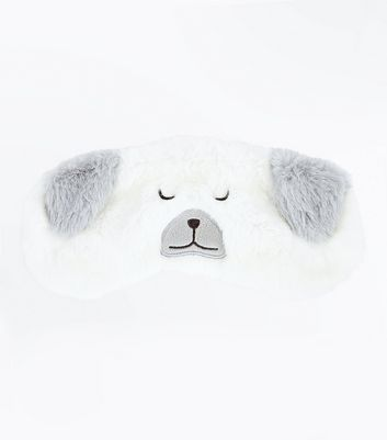 Cream Fluffy Bear Eye Mask New Look