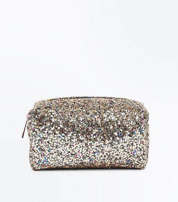 Gold Glitter Zip Top Make Up Bag New Look