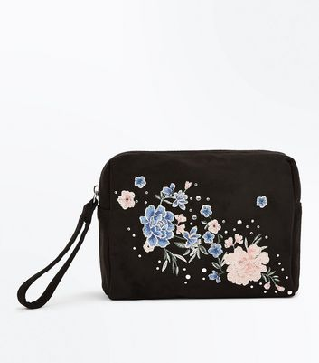 Black Floral Embroidered Purse New Look