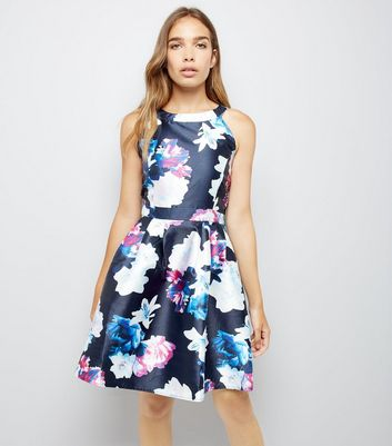AX Paris Blue Floral Print Skater Dress