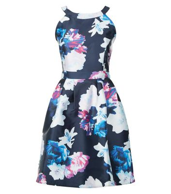 AX Paris Blue Floral Print Skater Dress New Look