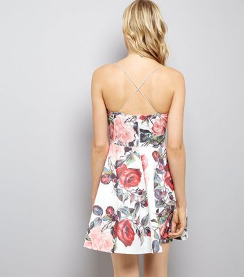 AX Paris White Floral Print Strappy Dress New Look