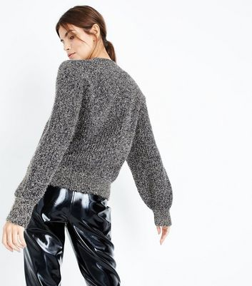 Gold Tinsel Balloon Sleeve Jumper New Look
