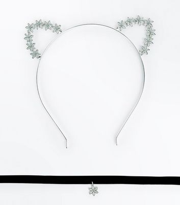 Silver Floral Cat Ears and Choker Pack New Look