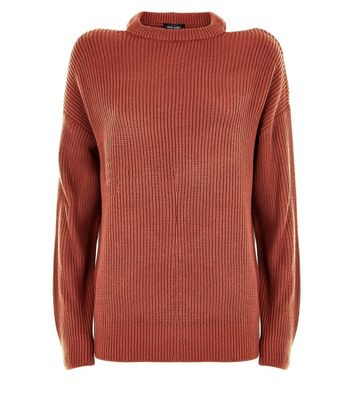 Light Brown Cut Out Shoulder Jumper New Look