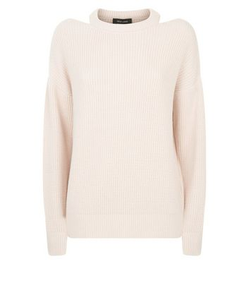 Shell Pink Cut Out Neck Jumper New Look