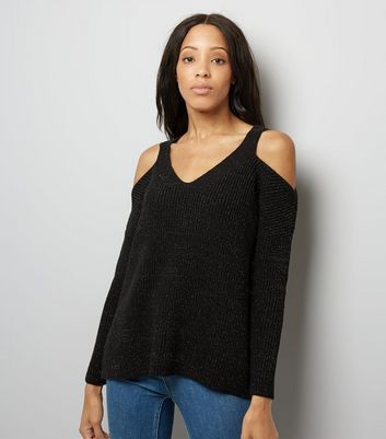 Black Metallic Detail Cold Shoulder Jumper New Look