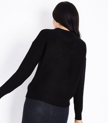 Black Ribbed Choker Neck Jumper New Look