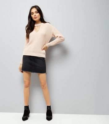 Shell Pink Choker Neck Jumper New Look
