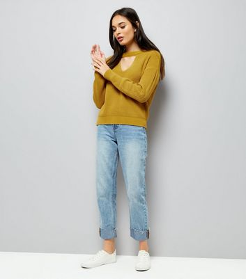 Mustard Yellow Ribbed Choker Neck Jumper New Look