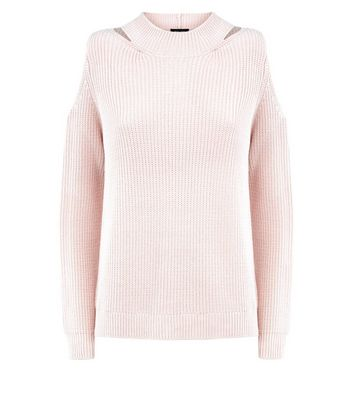 Pink Notch Cold Shoulder Jumper New Look