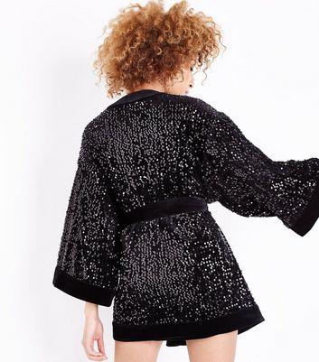 Black Sequin Embellished Kimono Robe New Look