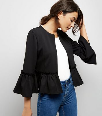 Cameo Rose Black Peplum Jacket New Look