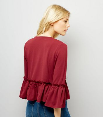 Cameo Rose Burgundy Peplum Jacket New Look