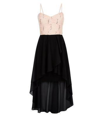 Cameo Rose Black Sequin Drop Hem Dress New Look
