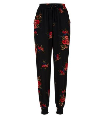 Cameo Rose Black Floral Cuffed Trousers New Look