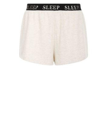 Cream Sleep Slogan Print Pyjama Shorts New Look