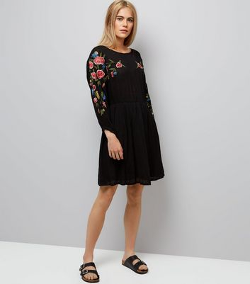 Black Floral Embroidered Sleeve Dress New Look