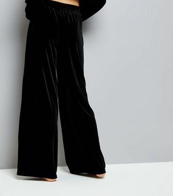 Black Velvet Wide Leg Pyjama Trousers New Look