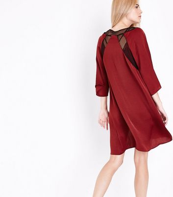 Red Satin Velvet Guipure Patch Pyjama Robe New Look