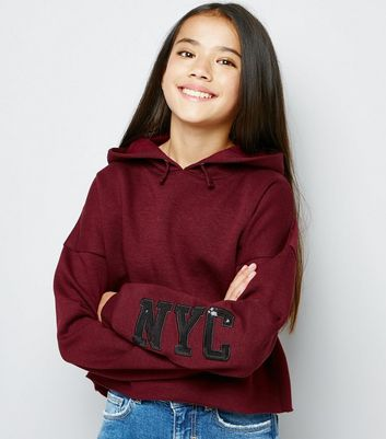 Teens Burgundy Sequin NYC Sequin Sleeve Hoodie New Look
