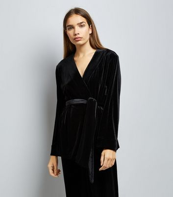 Black Velvet Wrap Front Pyjama Top New Look