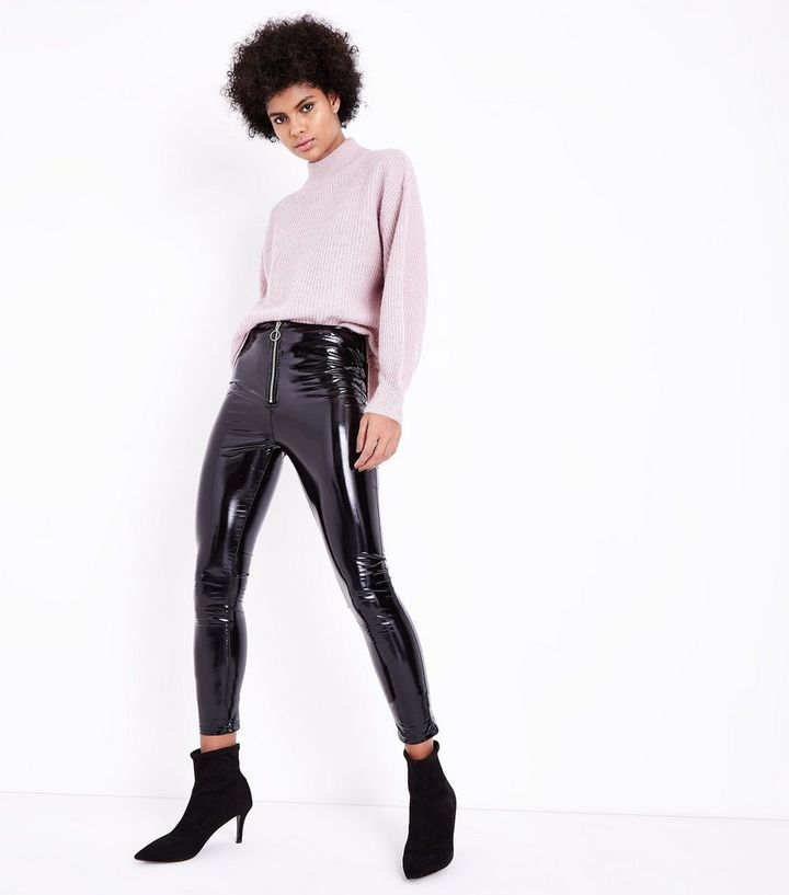 4516ba2e1c9b Parisian Black Leather-Look Skinny Trousers | New Look