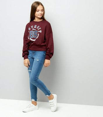 Teens Burgundy Detroit Sweater New Look