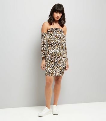 Parisian Leopard Print Bardot Bodycon Dress New Look