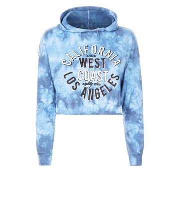 Teens Blue Tie Dye California Slogan Hoodie New Look