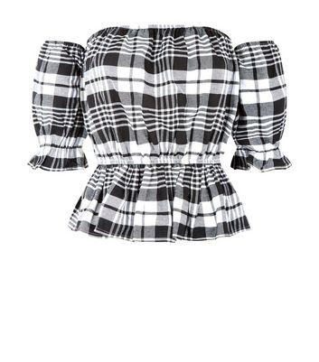 Parisian Check Puffed Sleeve Bardot Neck Top New Look