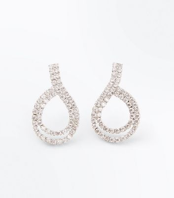 Silver Cubic Zirconia Loop Stud Earrings New Look