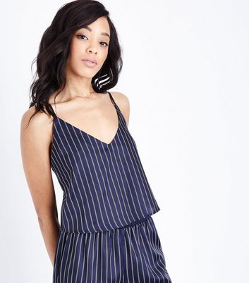 Blue Striped Pyjama Cami New Look