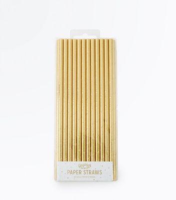 Gold Metallic Paper Straws New Look
