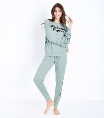 Blue Weekends Forever Slogan Pyjama Joggers New Look