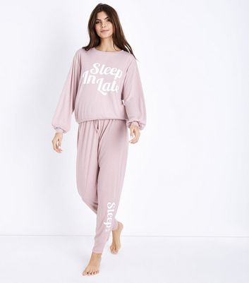 Mid Pink Sleep In Late Knit Pyjama Joggers New Look