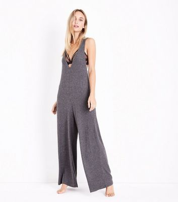 Dark Grey Ribbed Pyjama Jumpsuit New Look